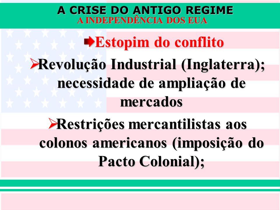 Estopim do conflito Revolução Industrial (Inglaterra); necessidade de ampliação de mercados.