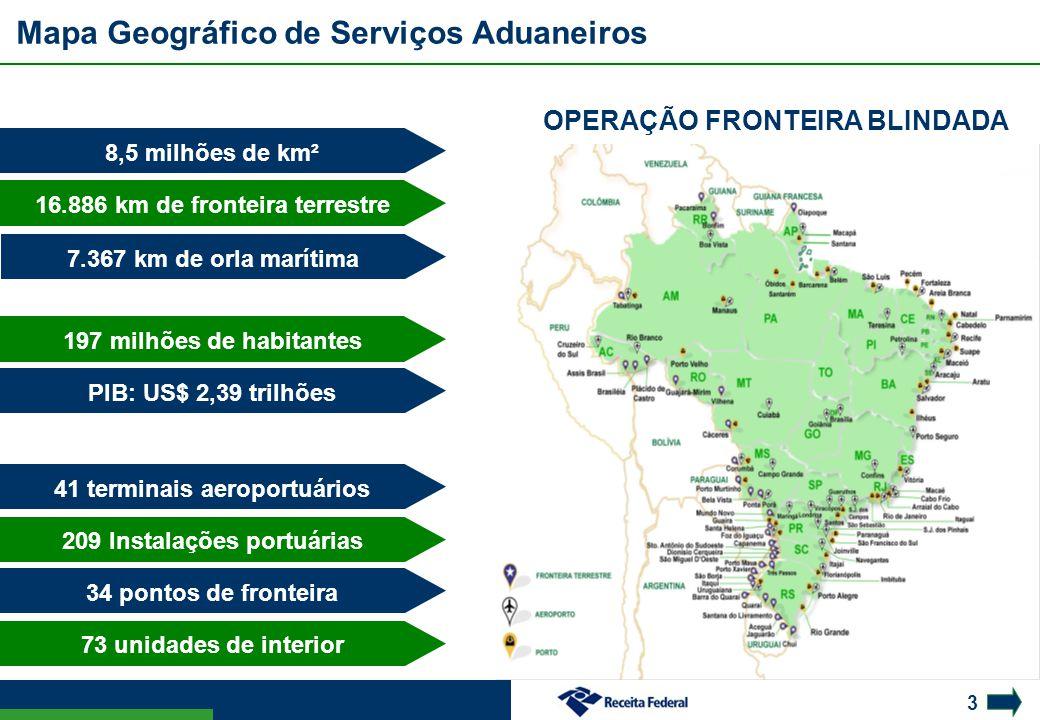 Mapa Geográfico de Serviços Aduaneiros