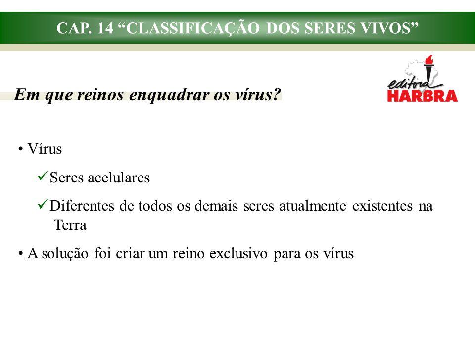CAP. 14 CLASSIFICAÇÃO DOS SERES VIVOS