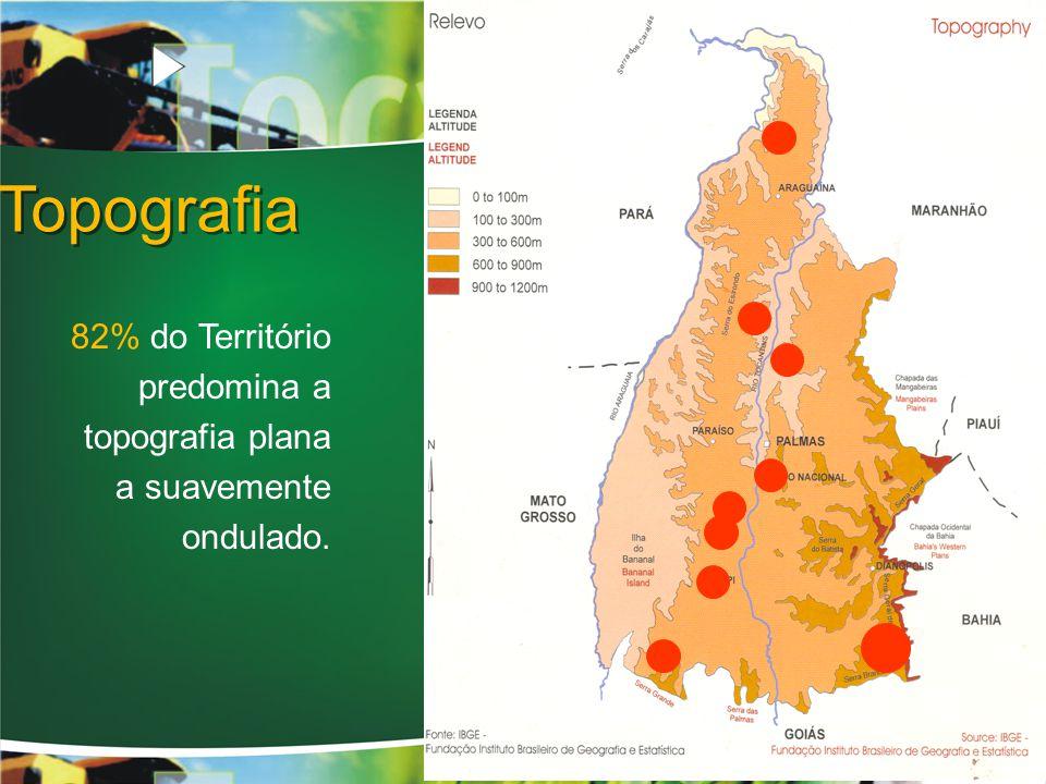 Topografia 82% do Território predomina a topografia plana