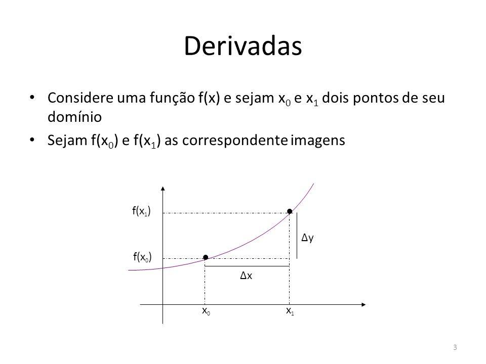 Derivadas Considere uma função f(x) e sejam x0 e x1 dois pontos de seu domínio. Sejam f(x0) e f(x1) as correspondente imagens.