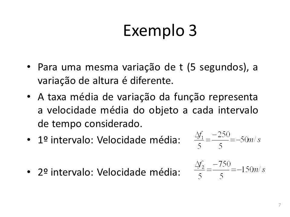Exemplo 3 Para uma mesma variação de t (5 segundos), a variação de altura é diferente.
