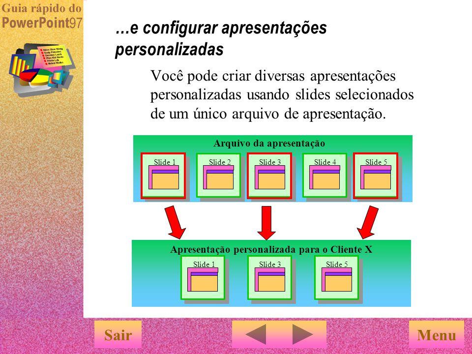 …e configurar apresentações personalizadas