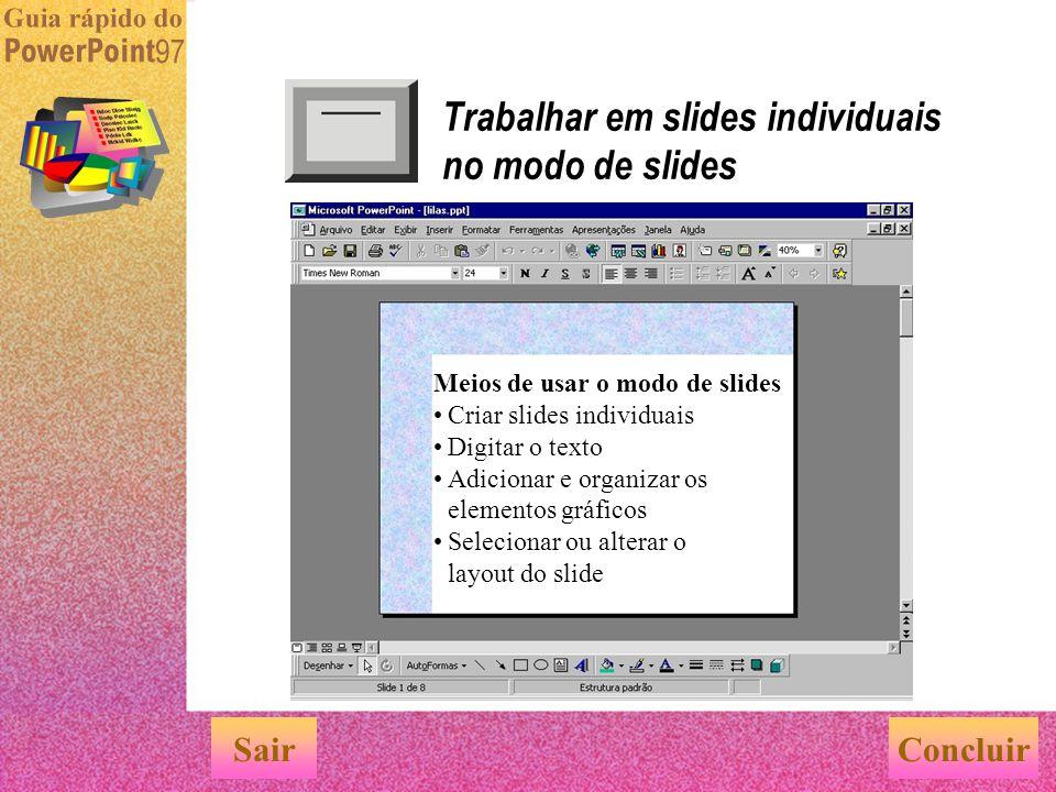 Trabalhar em slides individuais no modo de slides