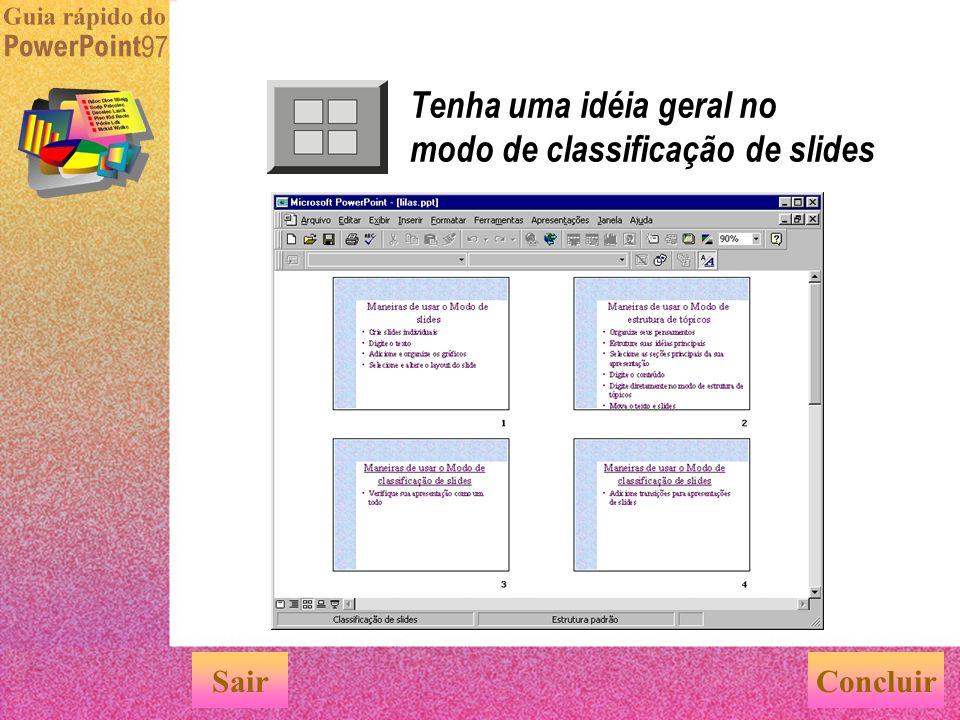 Tenha uma idéia geral no modo de classificação de slides