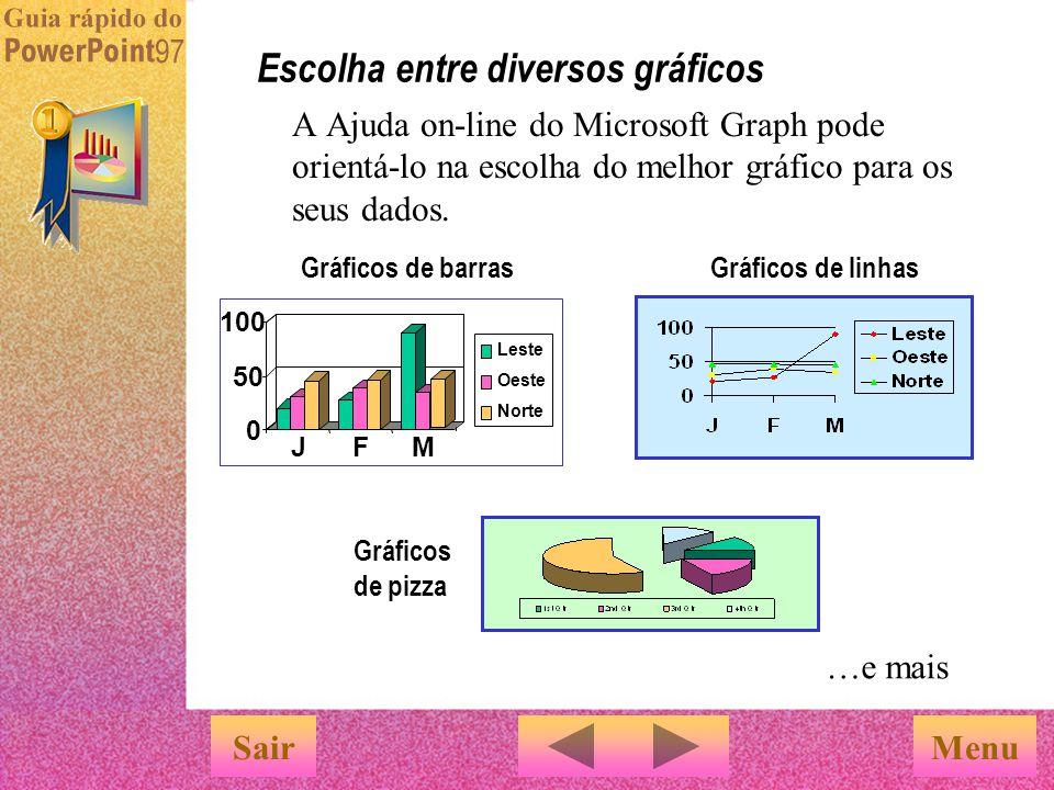 Escolha entre diversos gráficos