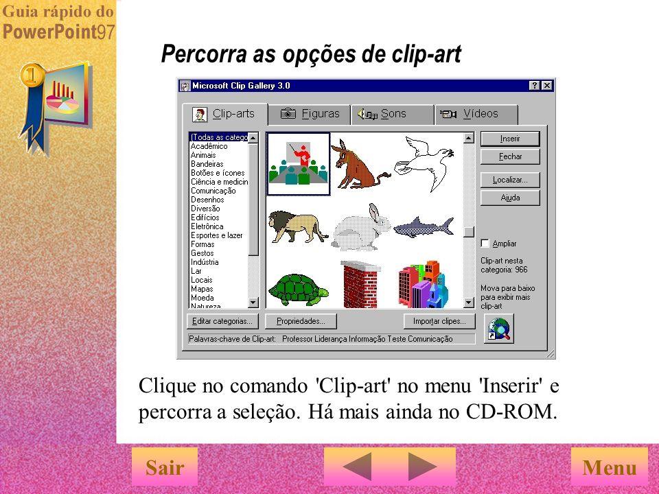 Percorra as opções de clip-art