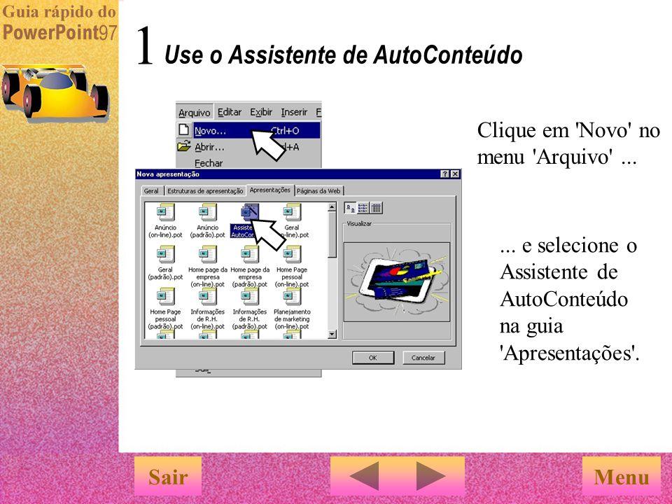 Use o Assistente de AutoConteúdo