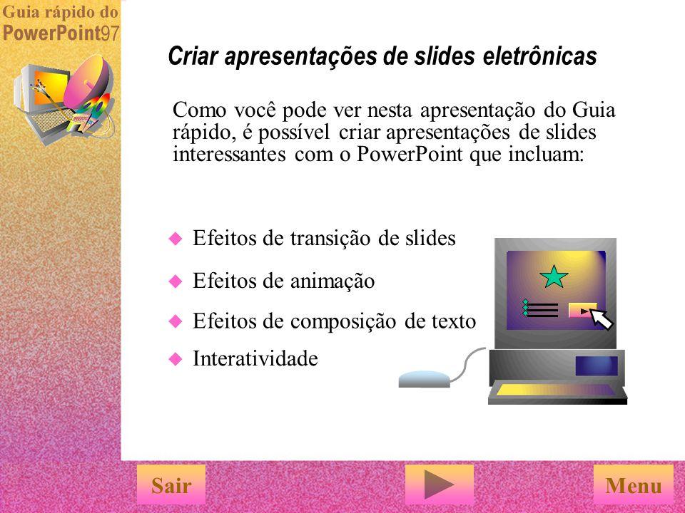 Criar apresentações de slides eletrônicas