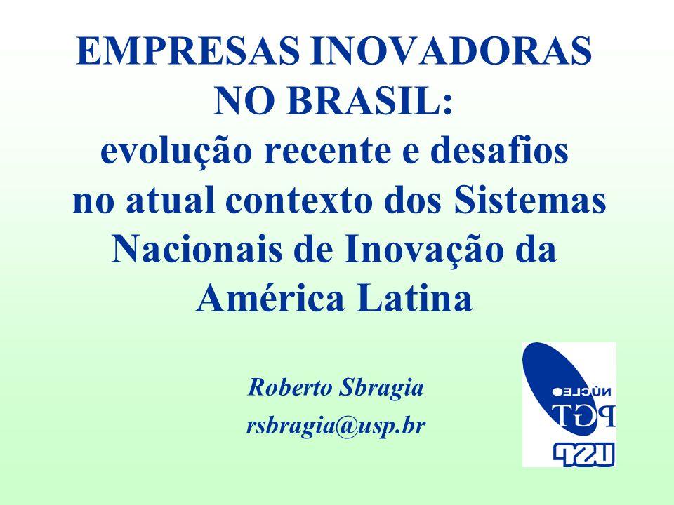 EMPRESAS INOVADORAS NO BRASIL: evolução recente e desafios no atual contexto dos Sistemas Nacionais de Inovação da América Latina