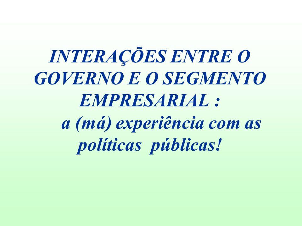 INTERAÇÕES ENTRE O GOVERNO E O SEGMENTO EMPRESARIAL : a (má) experiência com as políticas públicas!
