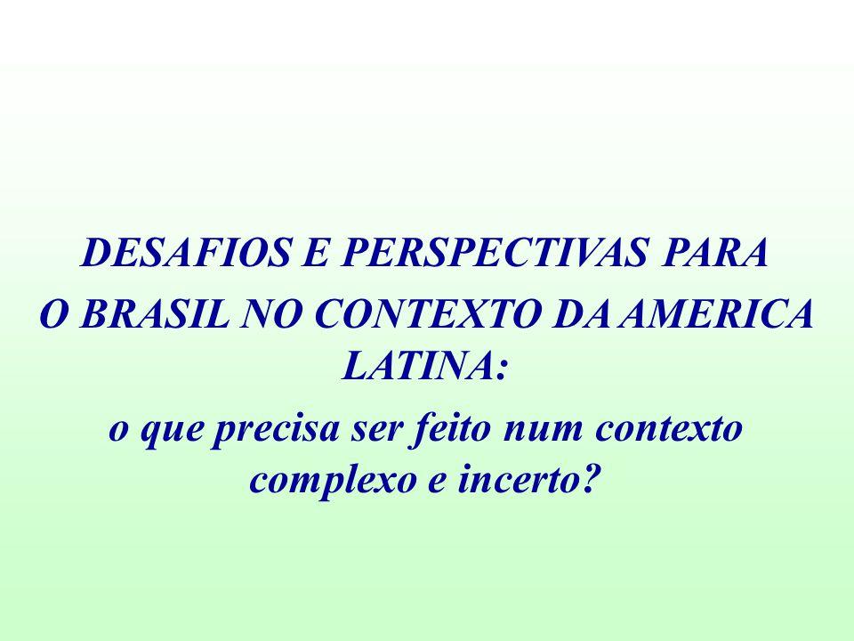 DESAFIOS E PERSPECTIVAS PARA O BRASIL NO CONTEXTO DA AMERICA LATINA: