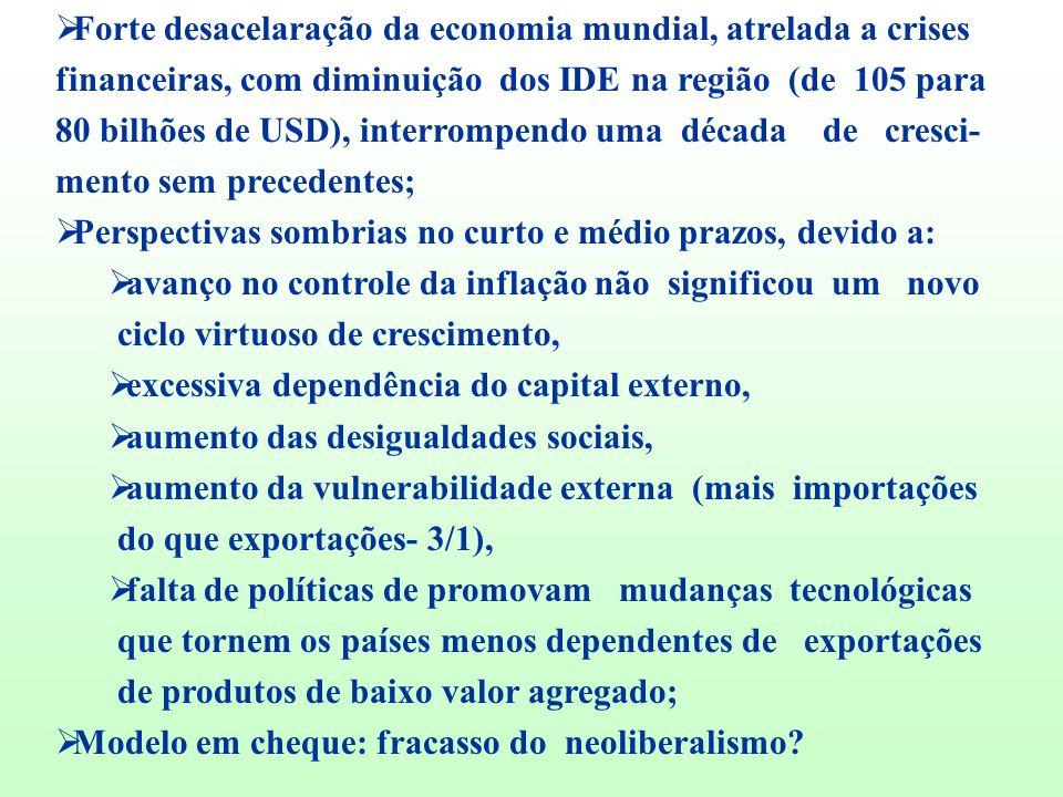 Forte desacelaração da economia mundial, atrelada a crises