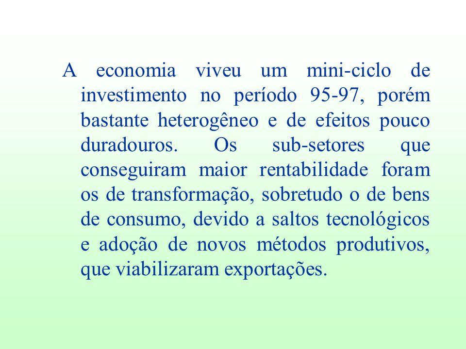 A economia viveu um mini-ciclo de investimento no período 95-97, porém bastante heterogêneo e de efeitos pouco duradouros.