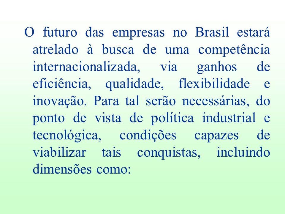 O futuro das empresas no Brasil estará atrelado à busca de uma competência internacionalizada, via ganhos de eficiência, qualidade, flexibilidade e inovação.