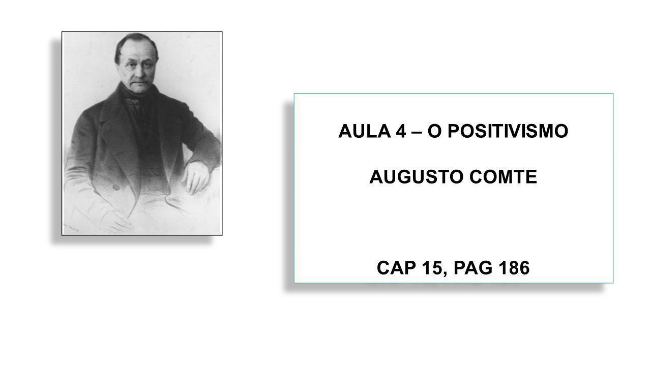 AULA 4 – O POSITIVISMO AUGUSTO COMTE CAP 15, PAG 186