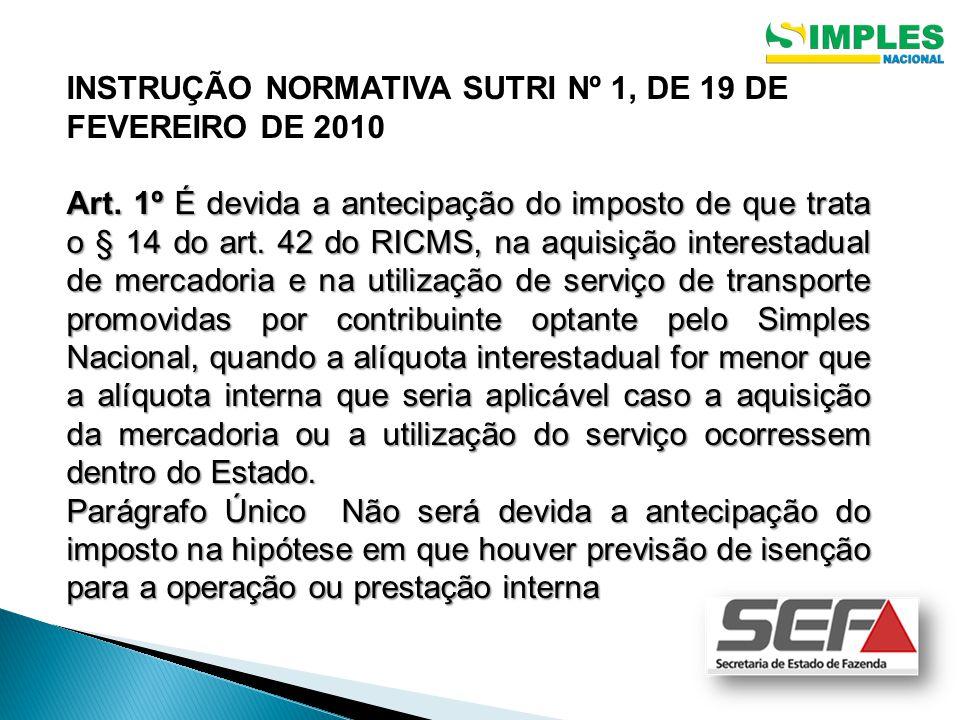 INSTRUÇÃO NORMATIVA SUTRI Nº 1, DE 19 DE FEVEREIRO DE 2010