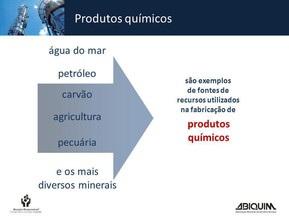 Produtos químicos água do mar petróleo carvão agricultura