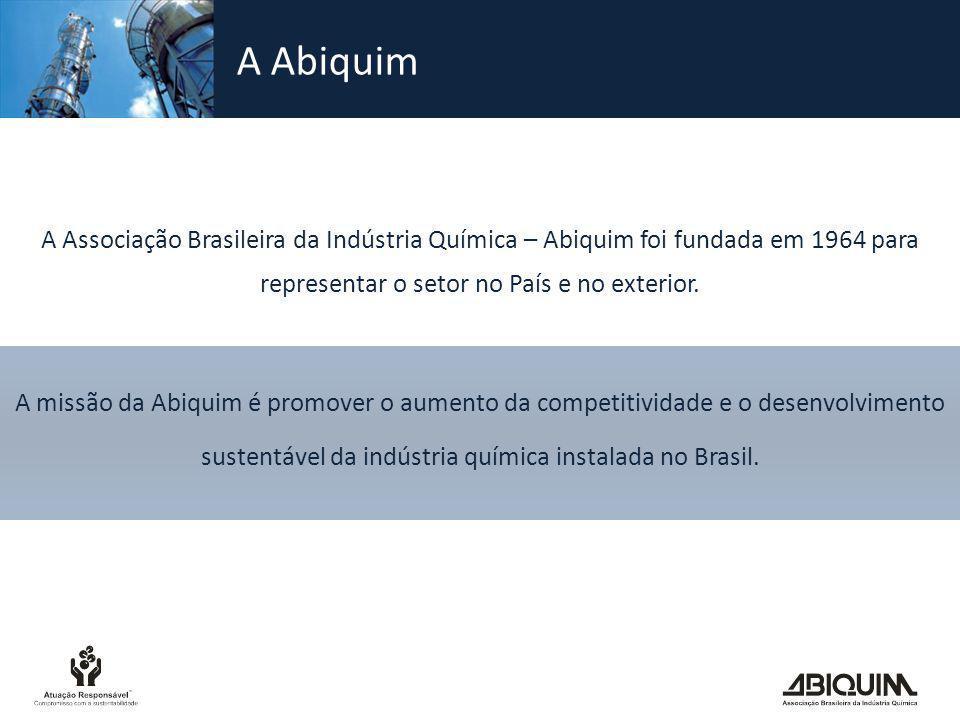 A Abiquim A Associação Brasileira da Indústria Química – Abiquim foi fundada em 1964 para representar o setor no País e no exterior.