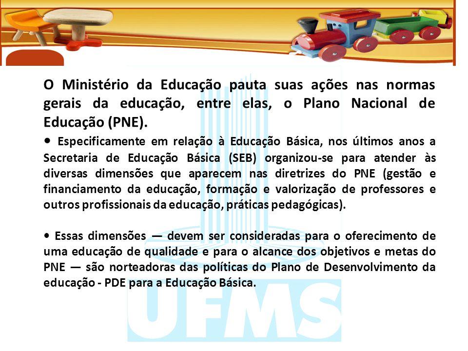 O Ministério da Educação pauta suas ações nas normas gerais da educação, entre elas, o Plano Nacional de Educação (PNE).