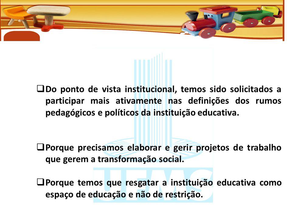 Do ponto de vista institucional, temos sido solicitados a participar mais ativamente nas definições dos rumos pedagógicos e políticos da instituição educativa.