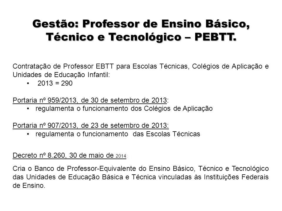 Gestão: Professor de Ensino Básico, Técnico e Tecnológico – PEBTT.
