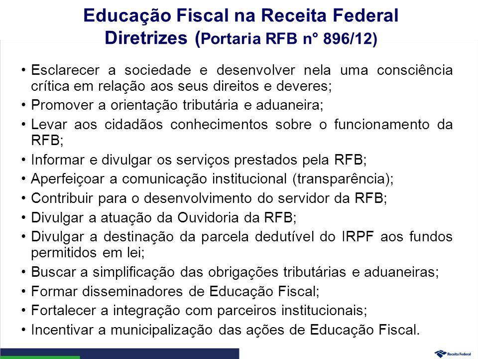 Educação Fiscal na Receita Federal Diretrizes (Portaria RFB n° 896/12)