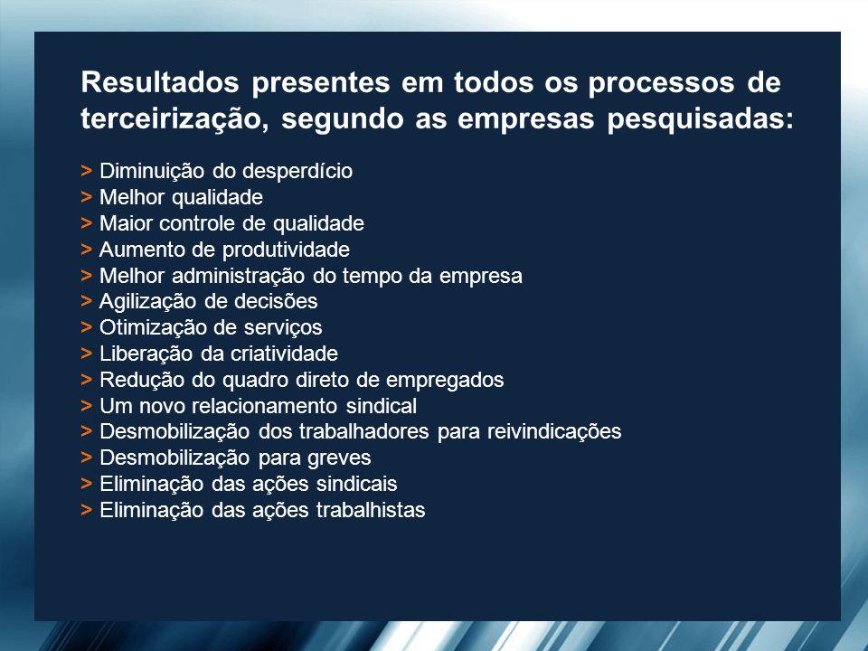 Resultados presentes em todos os processos de terceirização, segundo as empresas pesquisadas: