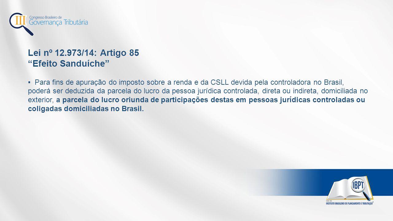 Lei nº 12.973/14: Artigo 85 Efeito Sanduíche