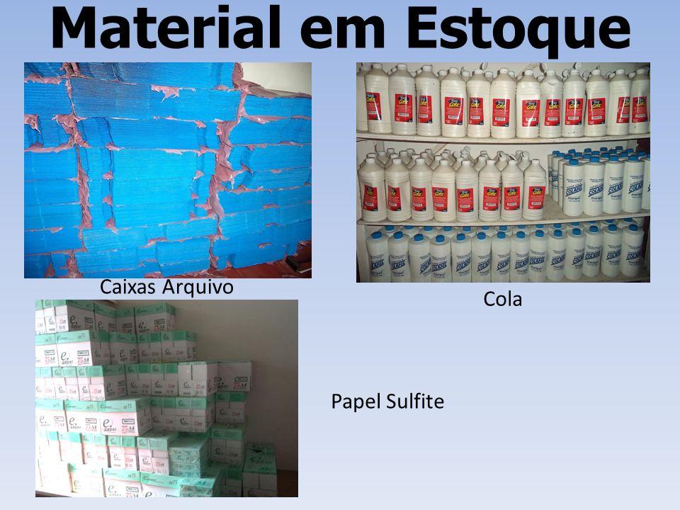 Material em Estoque Caixas Arquivo Cola Papel Sulfite