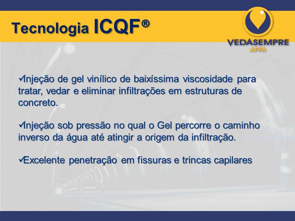 Tecnologia ICQF® Injeção de gel vinílico de baixíssima viscosidade para tratar, vedar e eliminar infiltrações em estruturas de concreto.