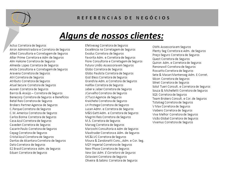 REFERENCIAS DE NEGÓCIOS Alguns de nossos clientes: