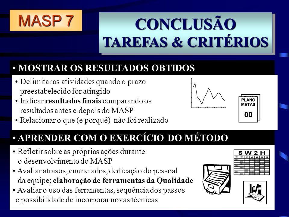 CONCLUSÃO MASP 7 TAREFAS & CRITÉRIOS MOSTRAR OS RESULTADOS OBTIDOS
