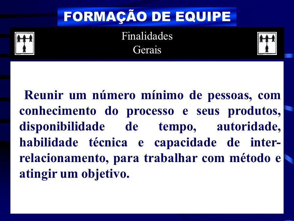 FORMAÇÃO DE EQUIPE Finalidades Gerais