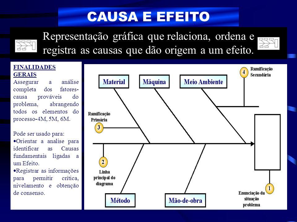 CAUSA E EFEITO Representação gráfica que relaciona, ordena e