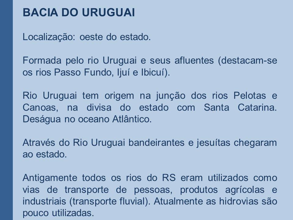 BACIA DO URUGUAI Localização: oeste do estado.