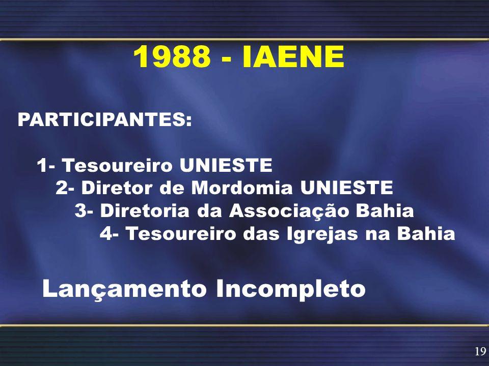1988 - IAENE Lançamento Incompleto PARTICIPANTES: