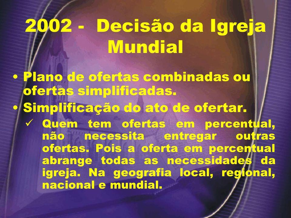 2002 - Decisão da Igreja Mundial