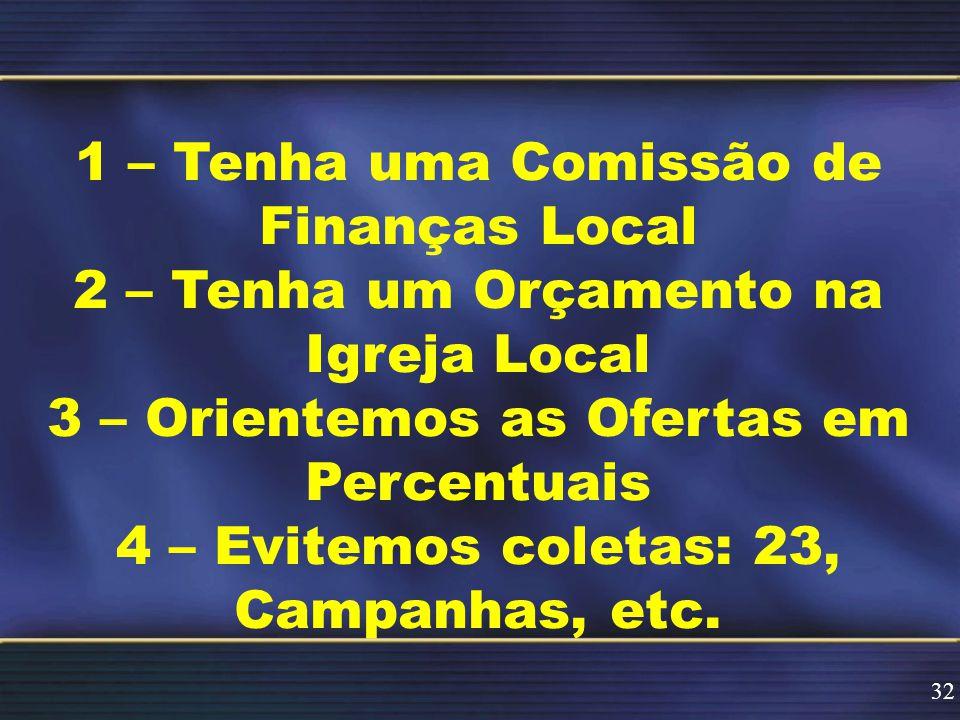 1 – Tenha uma Comissão de Finanças Local