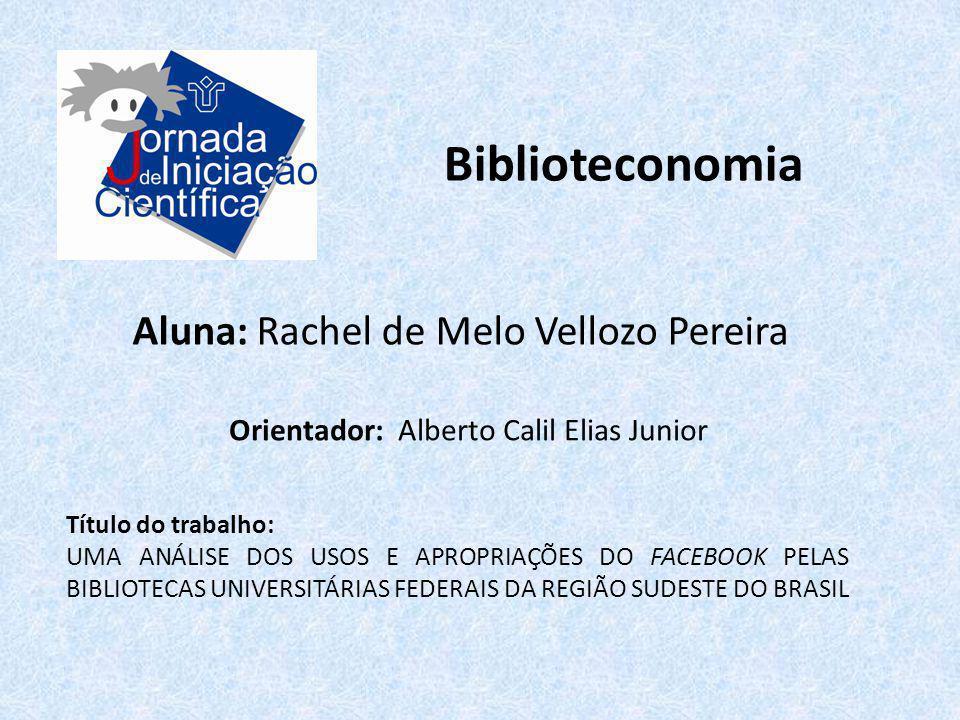 Biblioteconomia Aluna: Rachel de Melo Vellozo Pereira