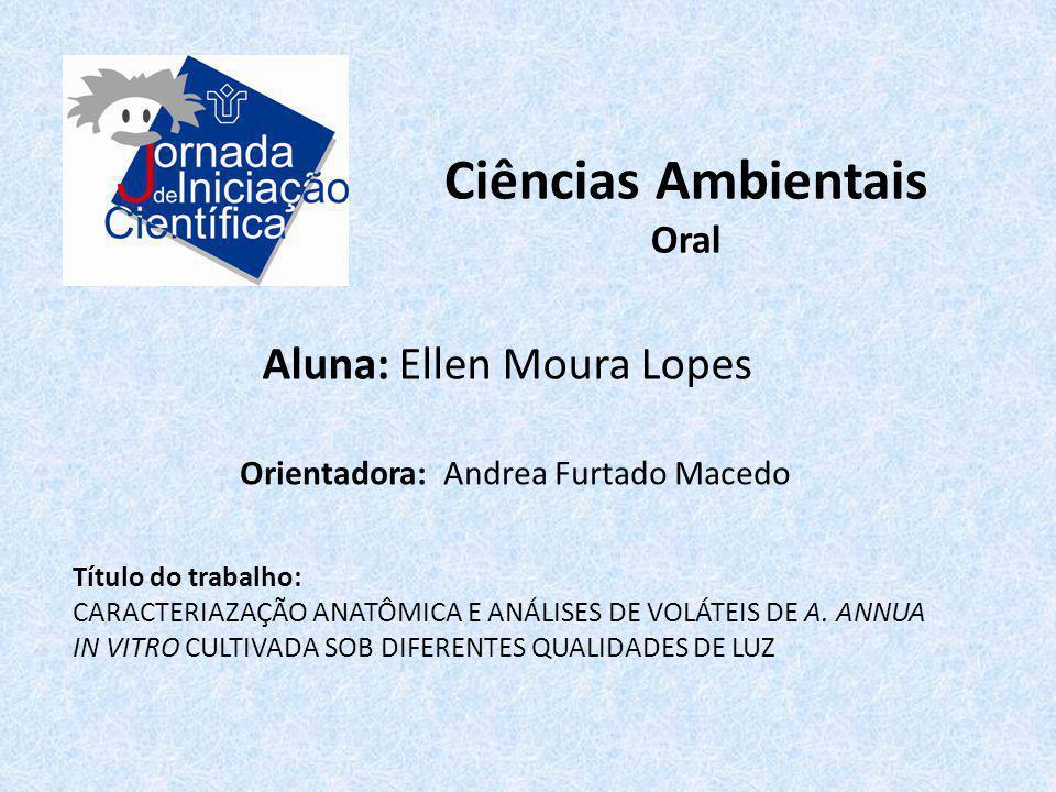 Ciências Ambientais Aluna: Ellen Moura Lopes Oral