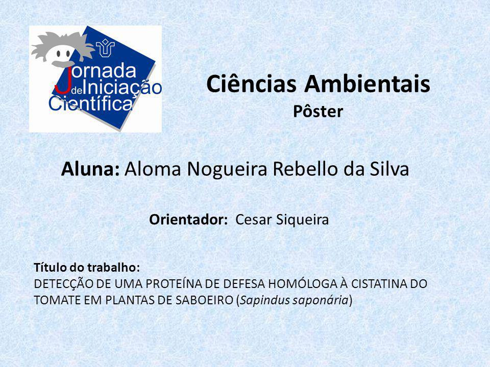 Ciências Ambientais Aluna: Aloma Nogueira Rebello da Silva Pôster