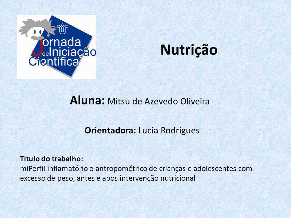 Nutrição Aluna: Mitsu de Azevedo Oliveira Orientadora: Lucia Rodrigues