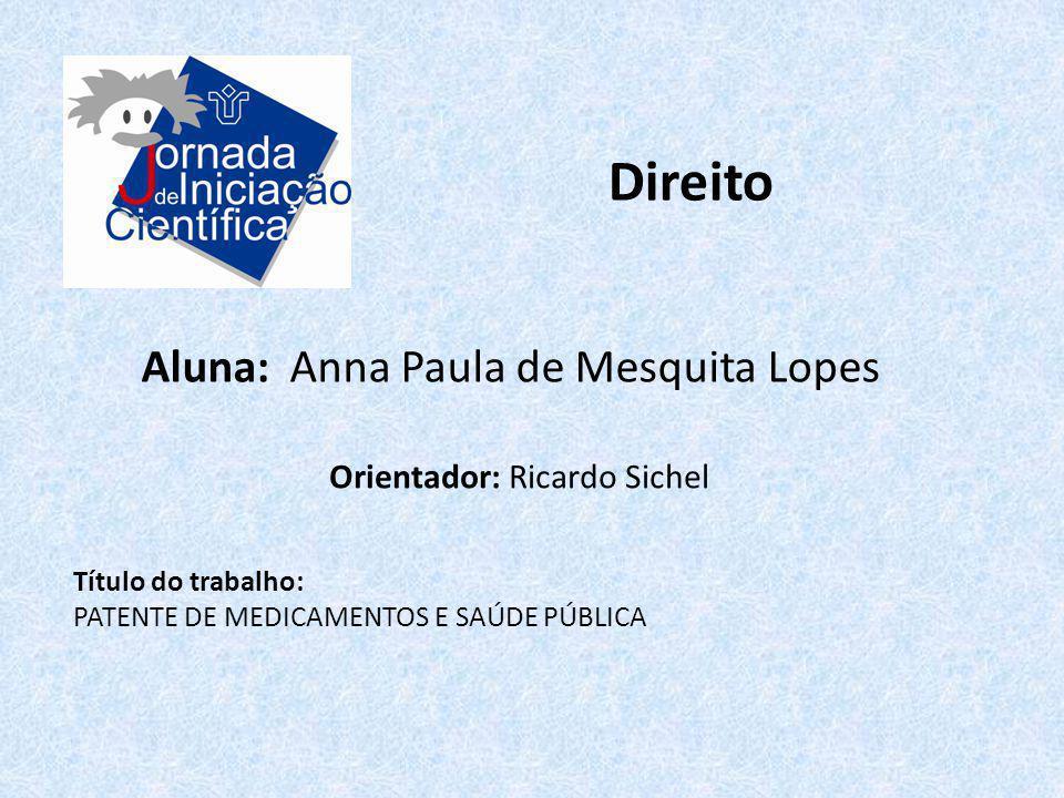 Direito Aluna: Anna Paula de Mesquita Lopes Orientador: Ricardo Sichel