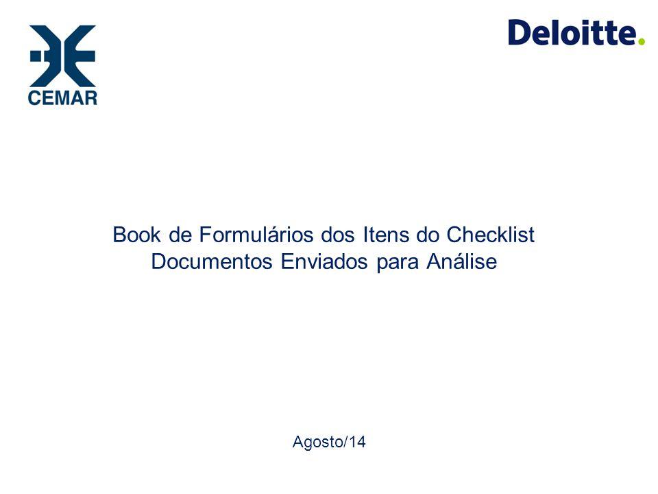 Book de Formulários dos Itens do Checklist Documentos Enviados para Análise