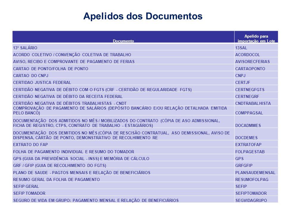 Apelidos dos Documentos Apelido para importação em Lote