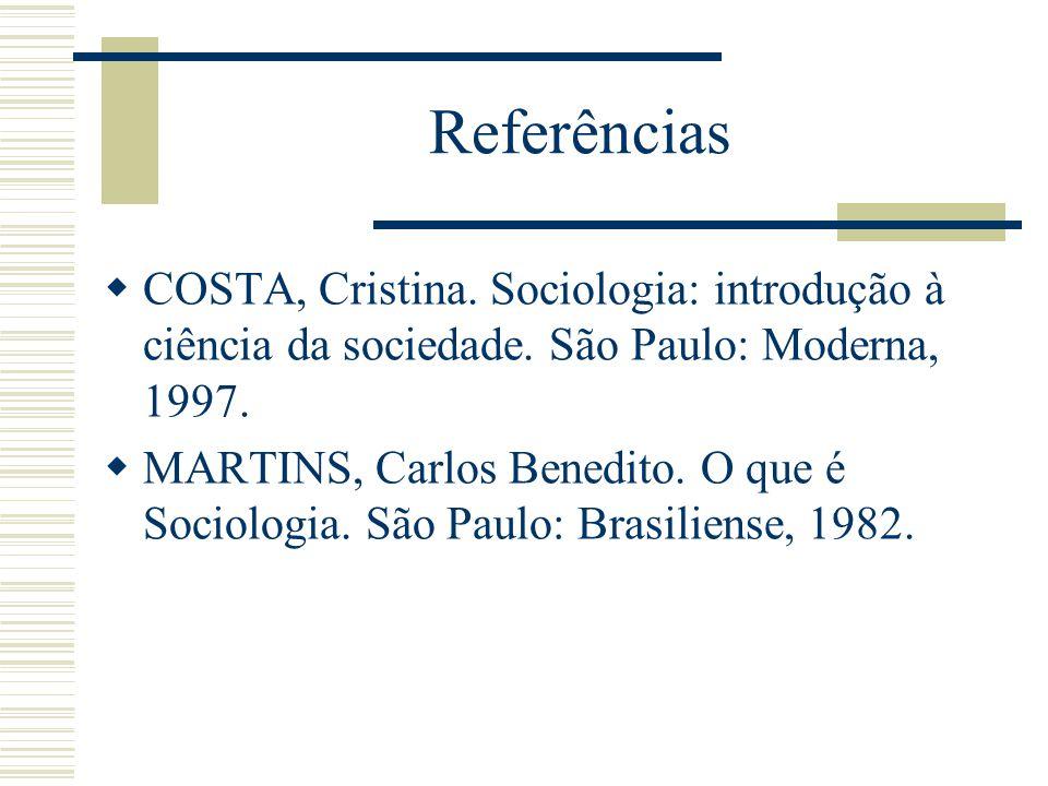 Referências COSTA, Cristina. Sociologia: introdução à ciência da sociedade. São Paulo: Moderna, 1997.