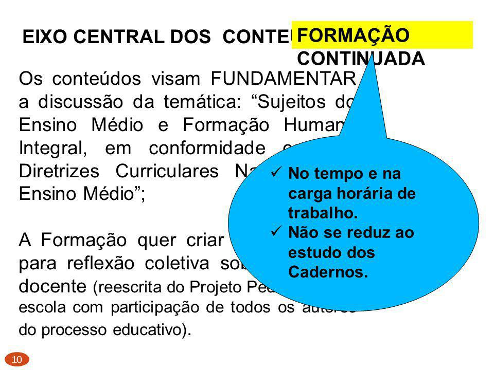 EIXO CENTRAL DOS CONTEÚDOS PARA A FORMAÇÃO CONTINUADA