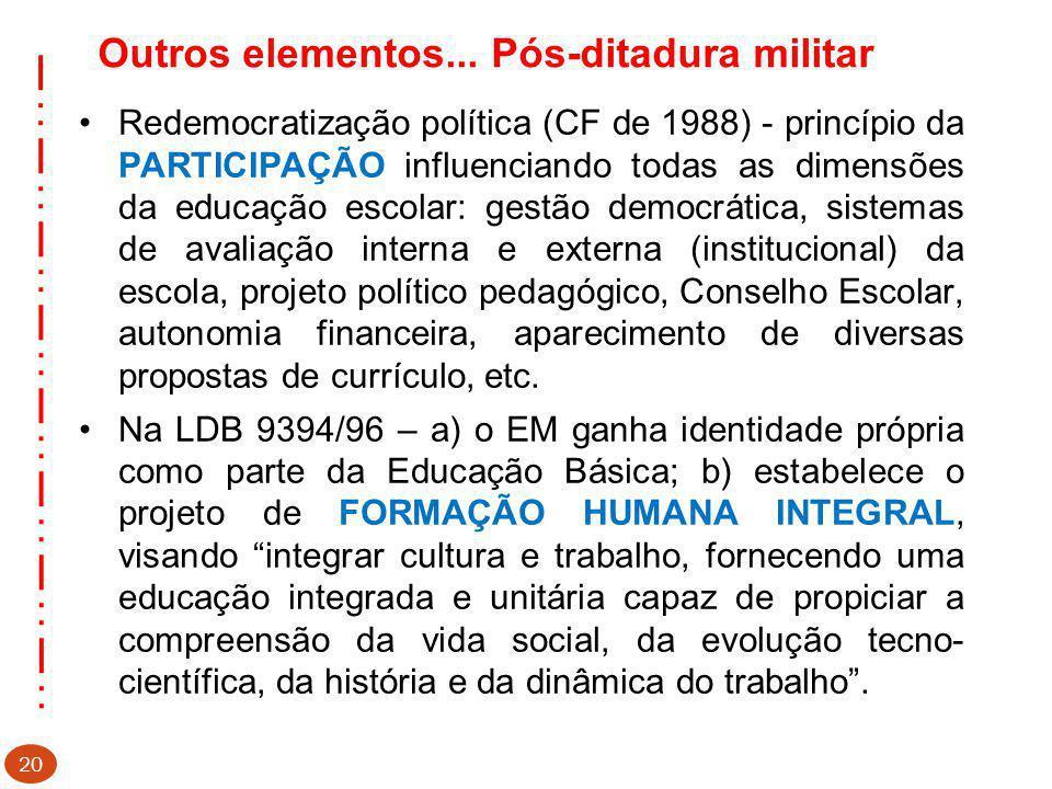 Outros elementos... Pós-ditadura militar