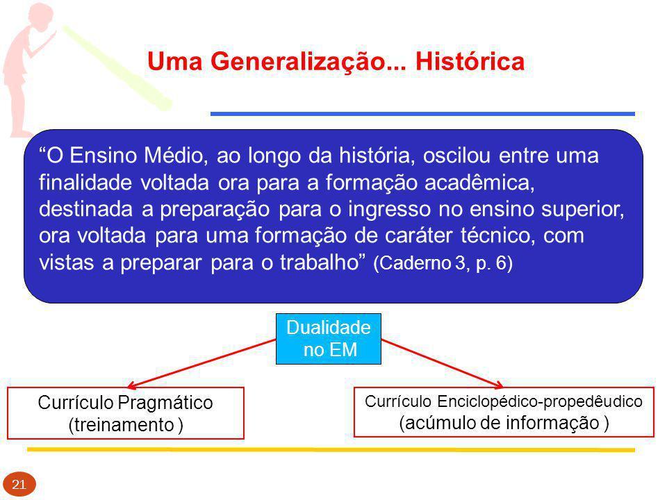 Uma Generalização... Histórica